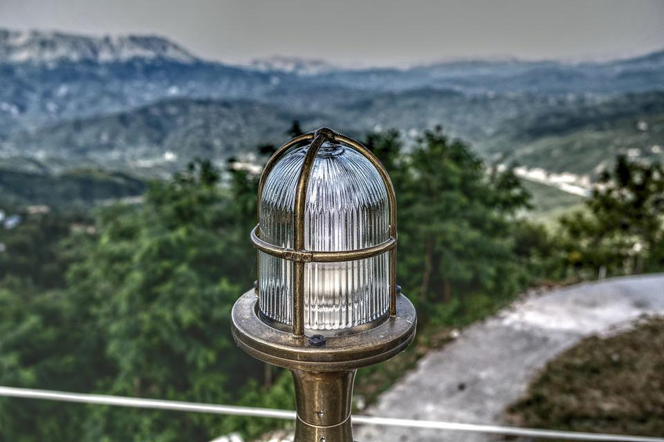 Lamp, Light, Outside, Foreground, Background, Blur