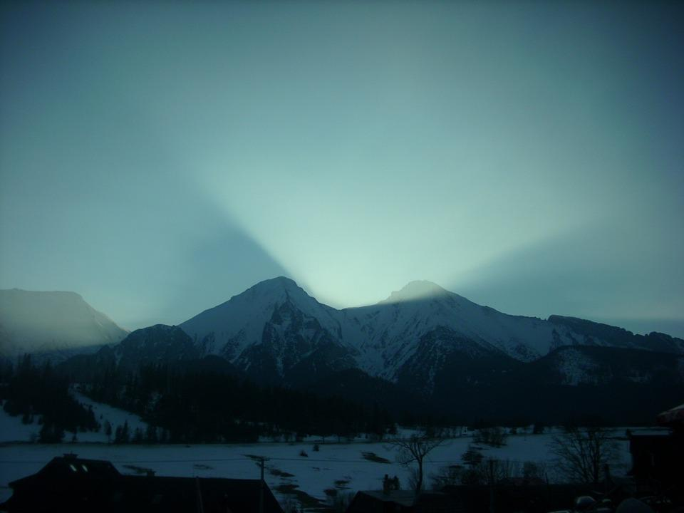 Mountains, Light, Winter In The Mountains, Nature