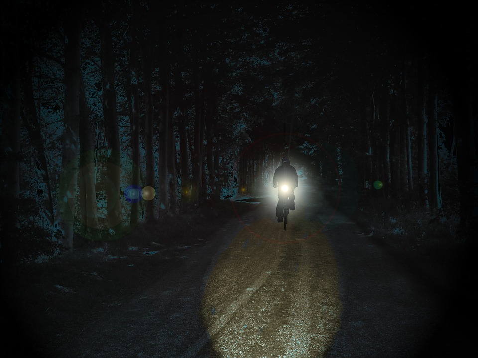 Cyclists, Night, Park, Weird, Spotlight, Light, Away