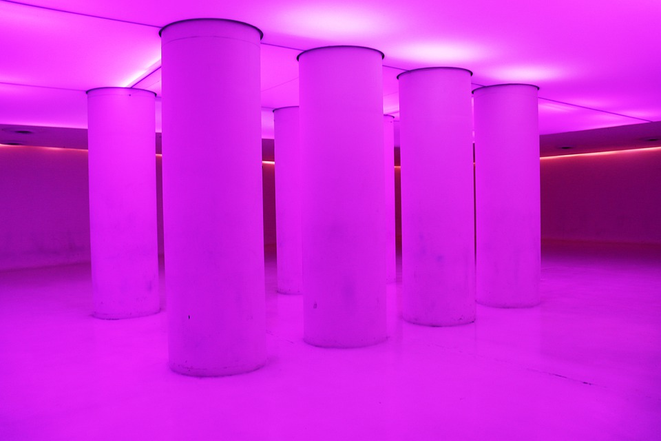 Rosa, Color, Light, Pillars, Architecture, Design