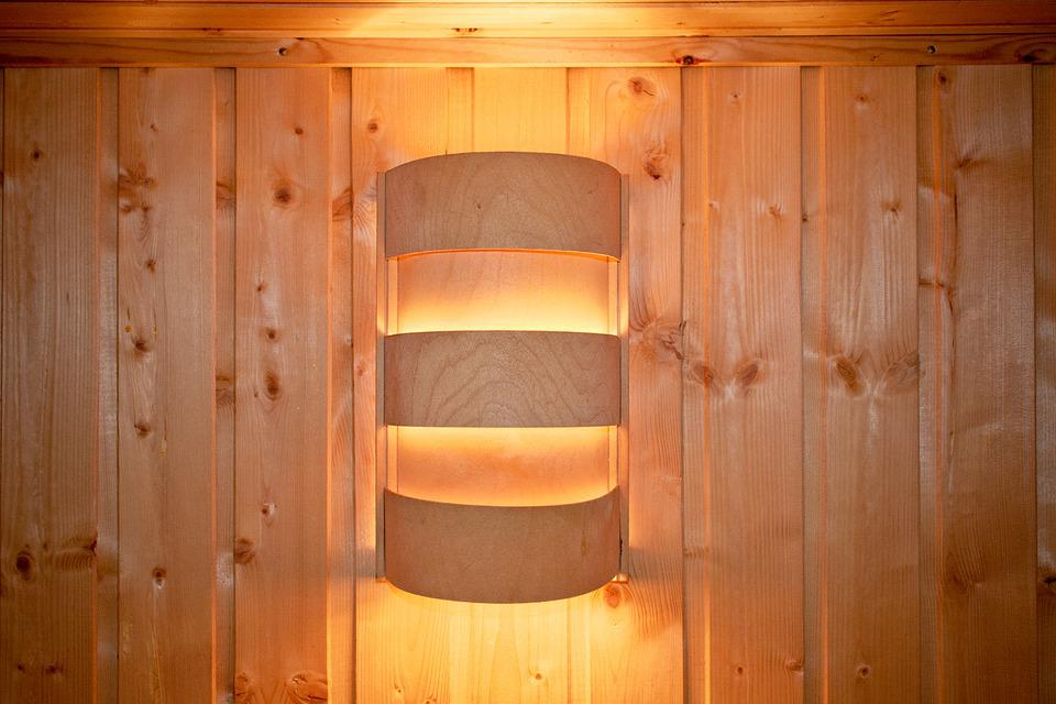 Light, Sauna Lamp, Wooden Wall, Trim, Glow, Lamp, Sauna