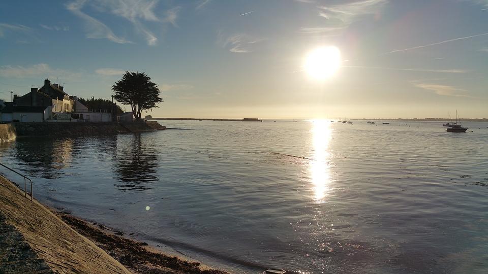 Port, Ocean, Sunset, Sea, Light