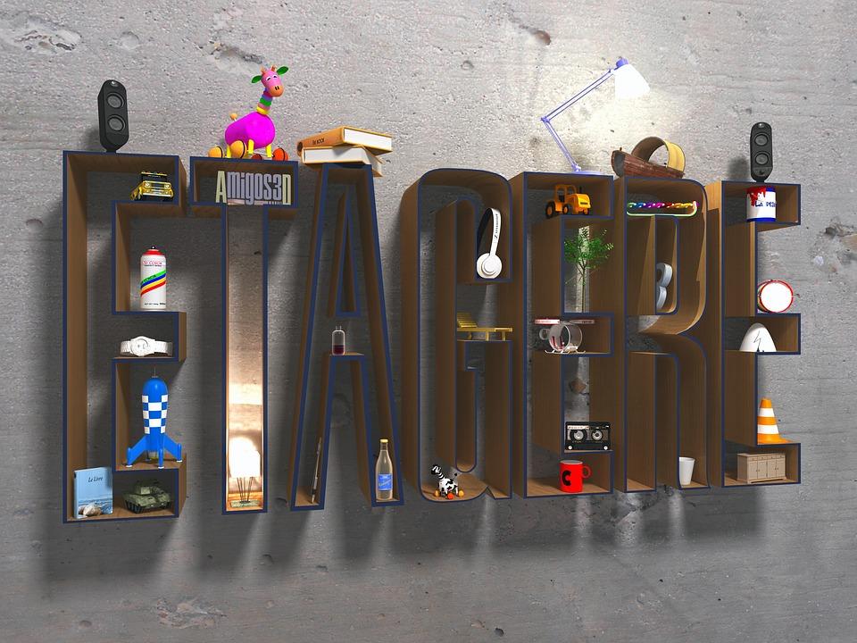 Shelf, Objects, 3d, Light, Rocket, Car, Glass, Mug