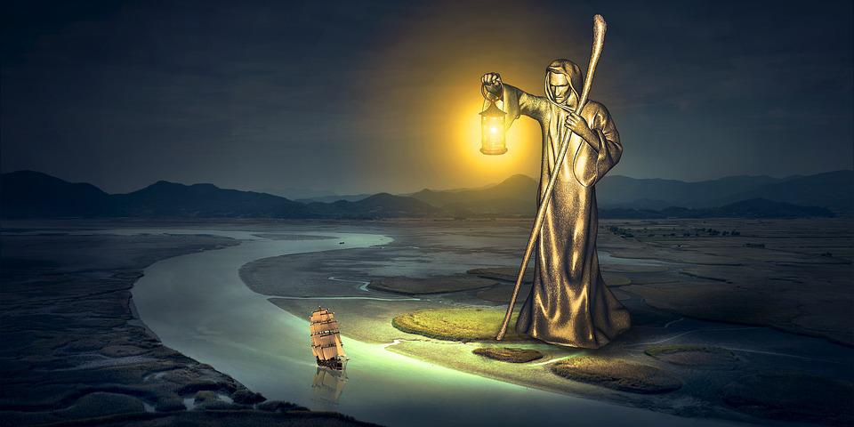 Fantasy, River, Statue, Lantern, Light, Ship, Night