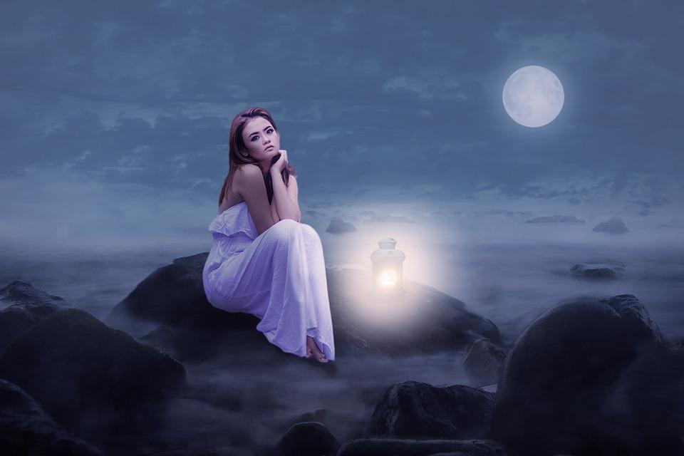 Woman, Beauty, Sit, Rock, Lantern, Light, Moonlight