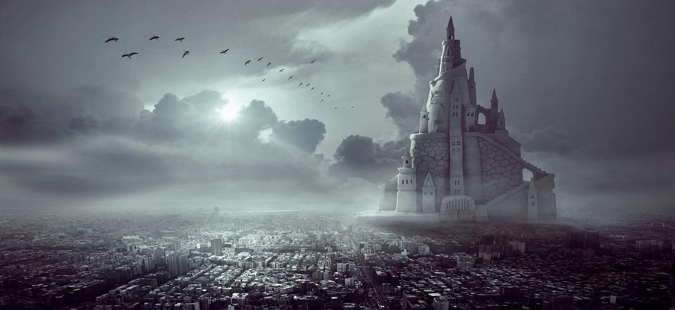 Fantasy, City, Castle, Light, Sky, Architecture