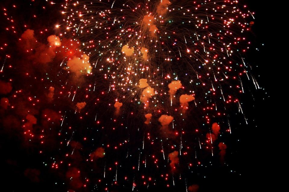 Fireworks, Light Spray, Flecks, Smoke, Puffs