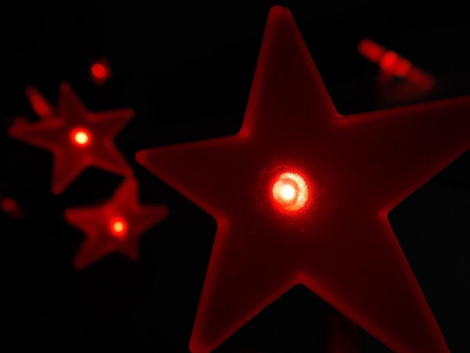 Stars, Light, Led, Lighting, Electricity, Red, Plastic