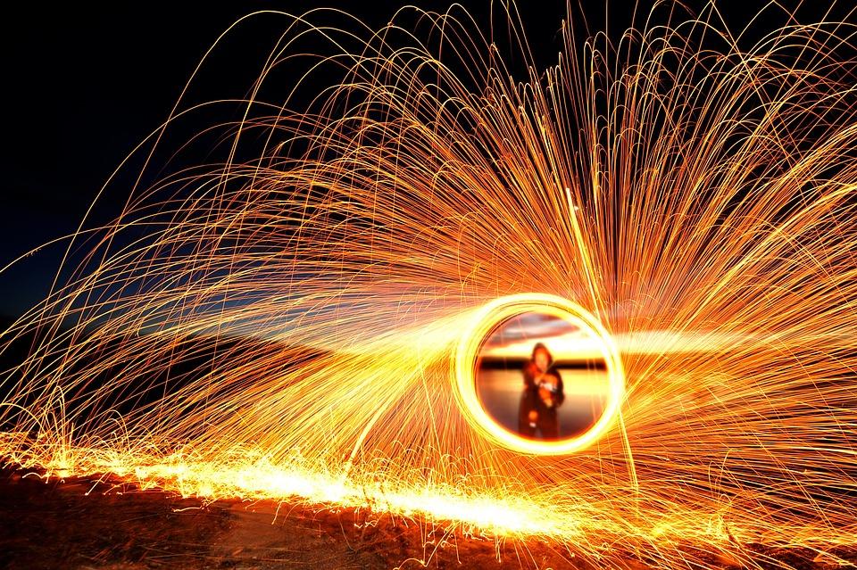 Sparks, Steel Wool, Light Painting, Light, Spinning
