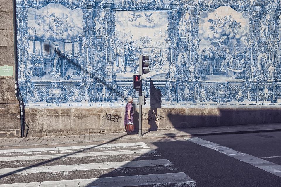 Street, Pedestrian Crossing, Woman, Red, Light