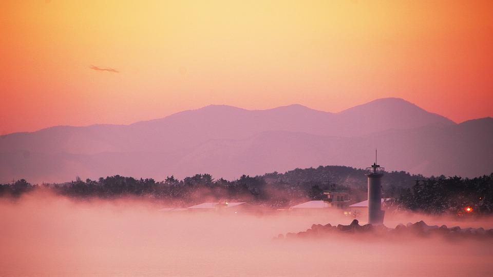 This Type, Dawn, Fog, Scenery, Light, Lighthouse