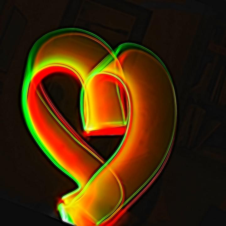 Heart, Light, Painting, Glow, Yellow, Valentine, Red