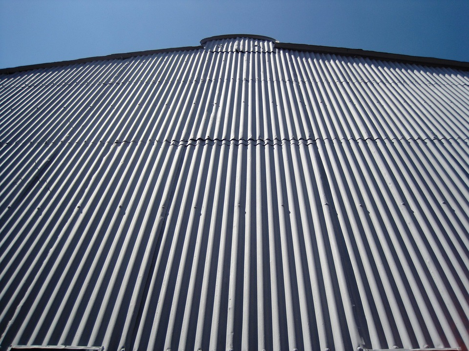 Wall, Grey, Tall, Corrugated, Grooved, Light, Shadow