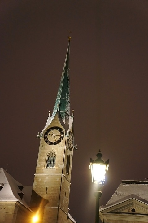 Zurich, Night, Church, Clock Tower, Light, Lamp