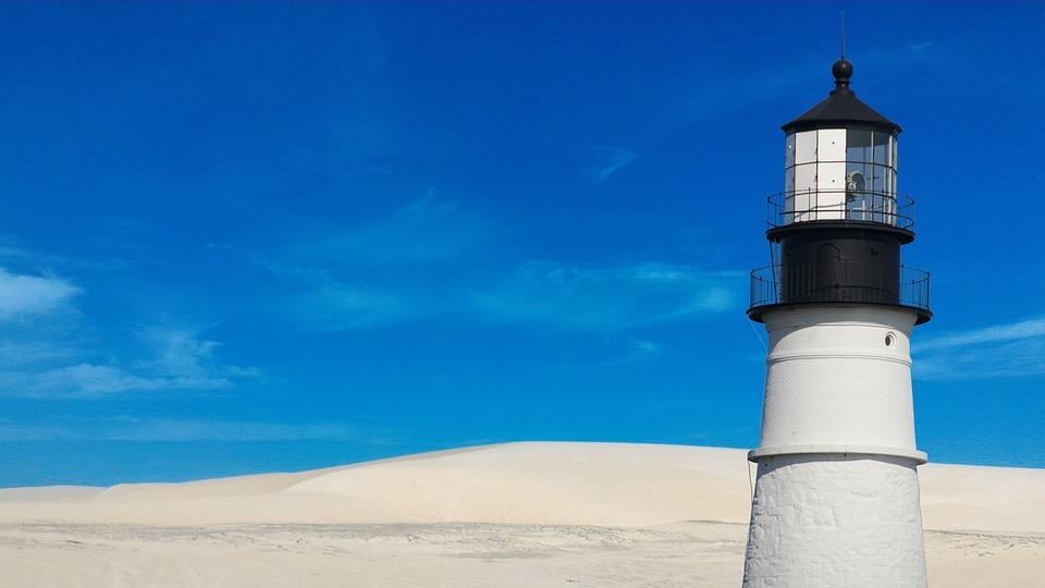 Lighthouse, Beach, Sea, Coast, Water, Landscape, Dunes