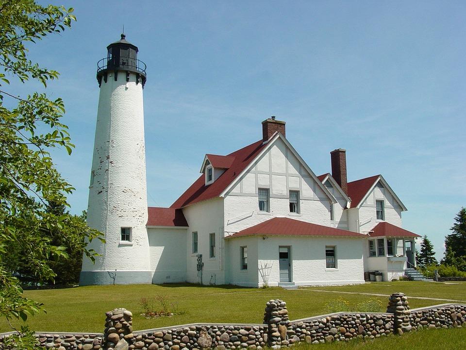 Lighthouse, Architecture, Landmark, Blue, Beacon, Shore