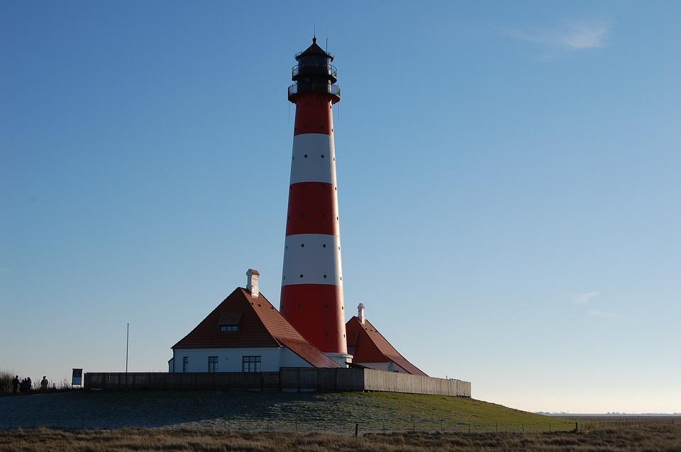 Lighthouse, Westerhever, North Sea, Blue, Sky, Terp