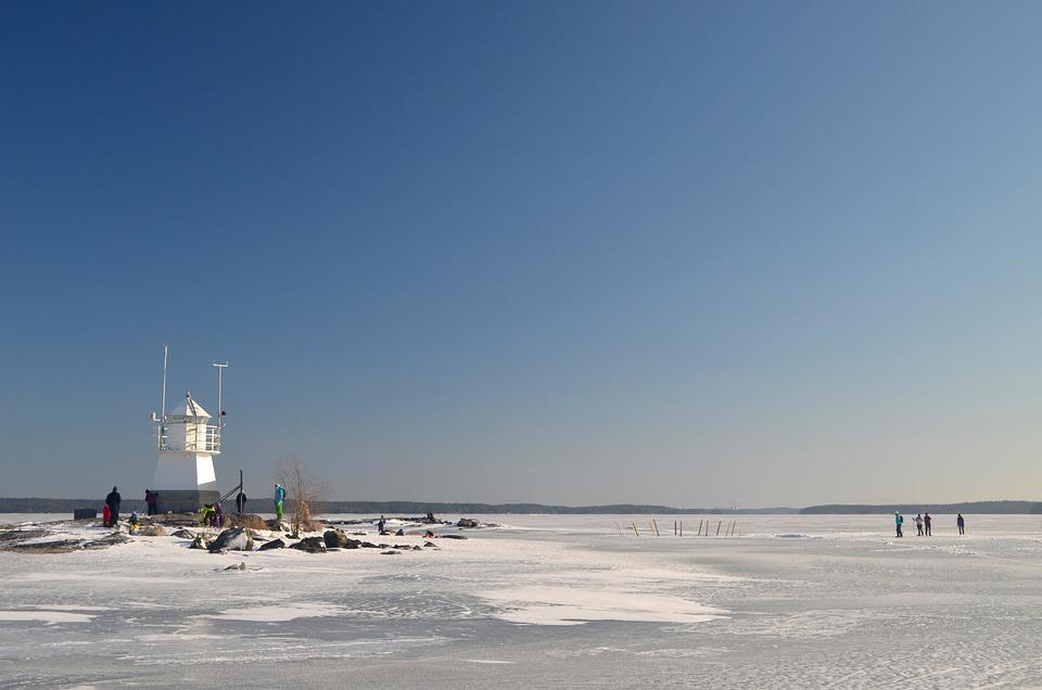 Frozen, Lake, Lighthouse, Winter, Landscape, Snow, Blue