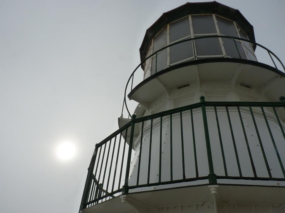 Lighthouse, California, Cloudy, Upwards, Fresnel Lens
