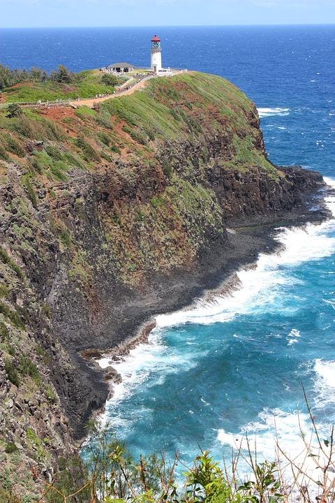 Lighthouse, Headland, Hawaii, Kauai, Island, Cliffs