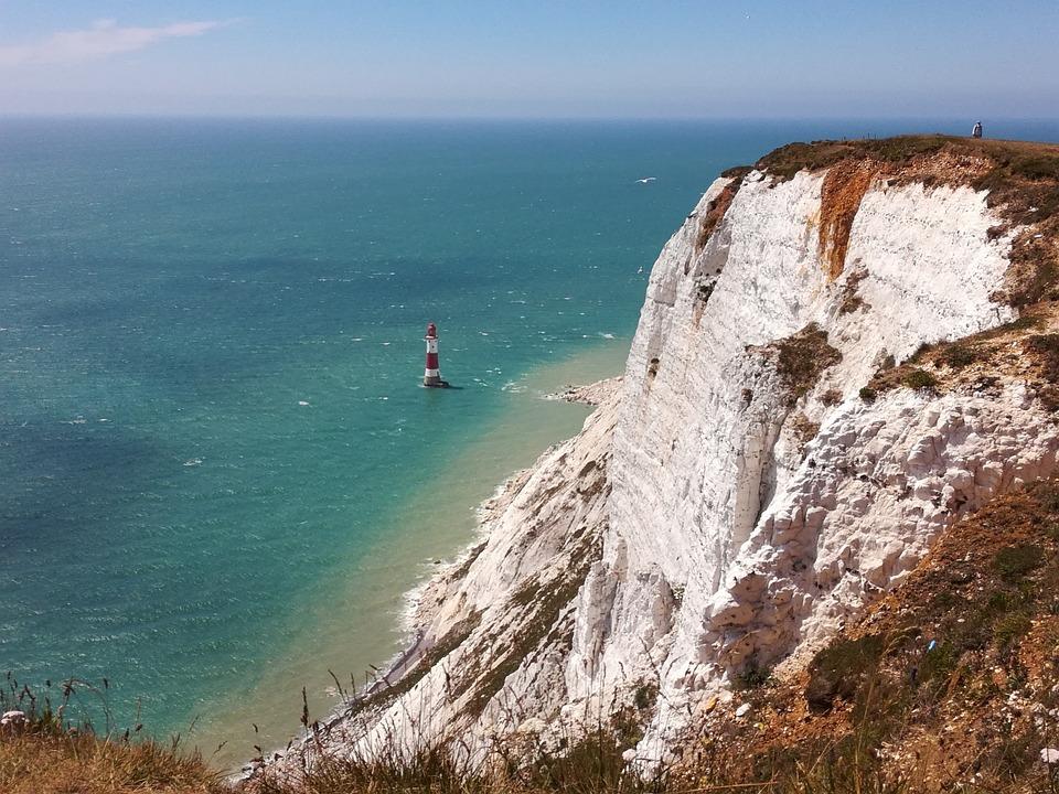 Seven Sisters, Lighthouse, Cliff, Sea, Coast