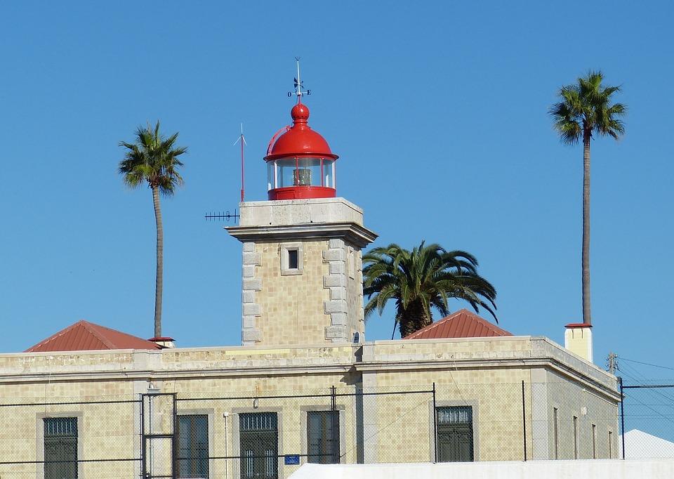 Lighthouse, Portugal, Algarve, Light, Coast, Palm