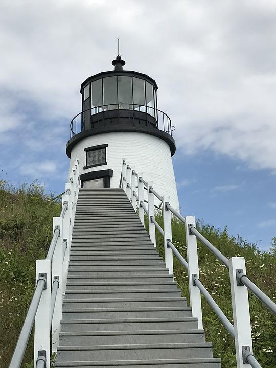 Lighthouse, Maine, Steps, Landmark