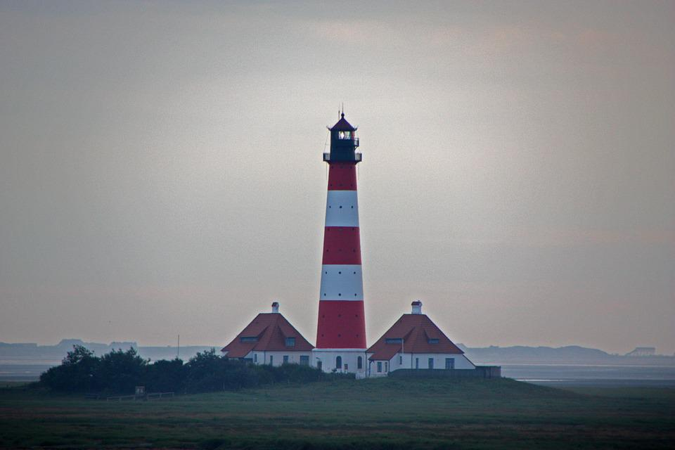 Westerhever, North Sea, Germany, Lighthouse, Mood