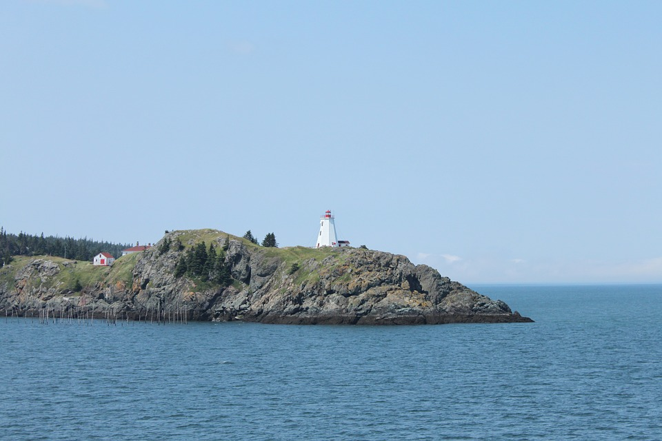 Island, Ocean, Coast, Lighthouse, Sea, Grand-manan