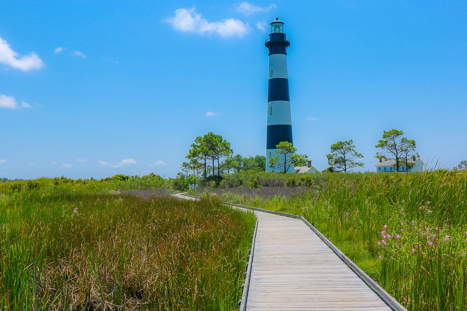 Lighthouse, Blue, Outer Banks, Nature