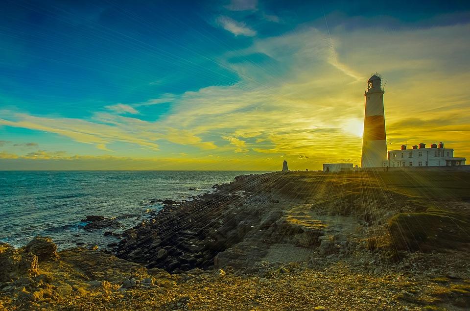 Portland Bill, Lighthouse, Ocean, Sunset