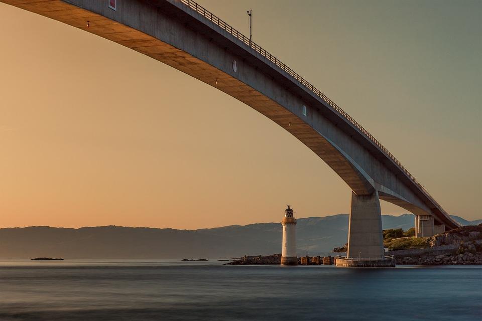 Bridge, Lighthouse, Sunset, Sea, Lake, Red, Sky