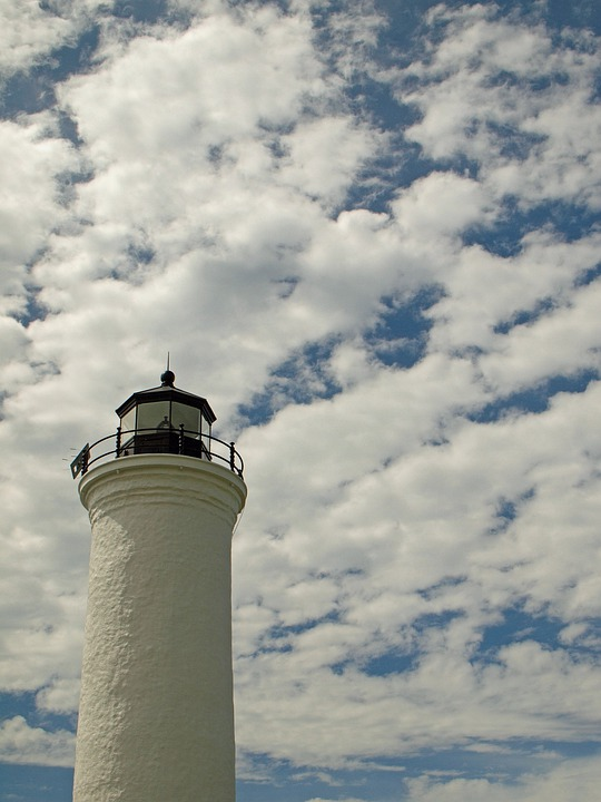 Lighthouse, Sky, Clouds, Blue, Blue Sky, Sunny, Bright