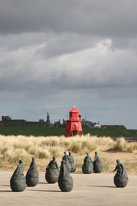 Lighthouse, Figures, Sculptures, Art, Travel, South
