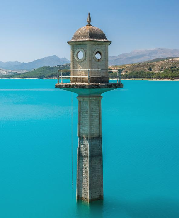 Watchtower, Lake, Turquoise Water, Lighthouse