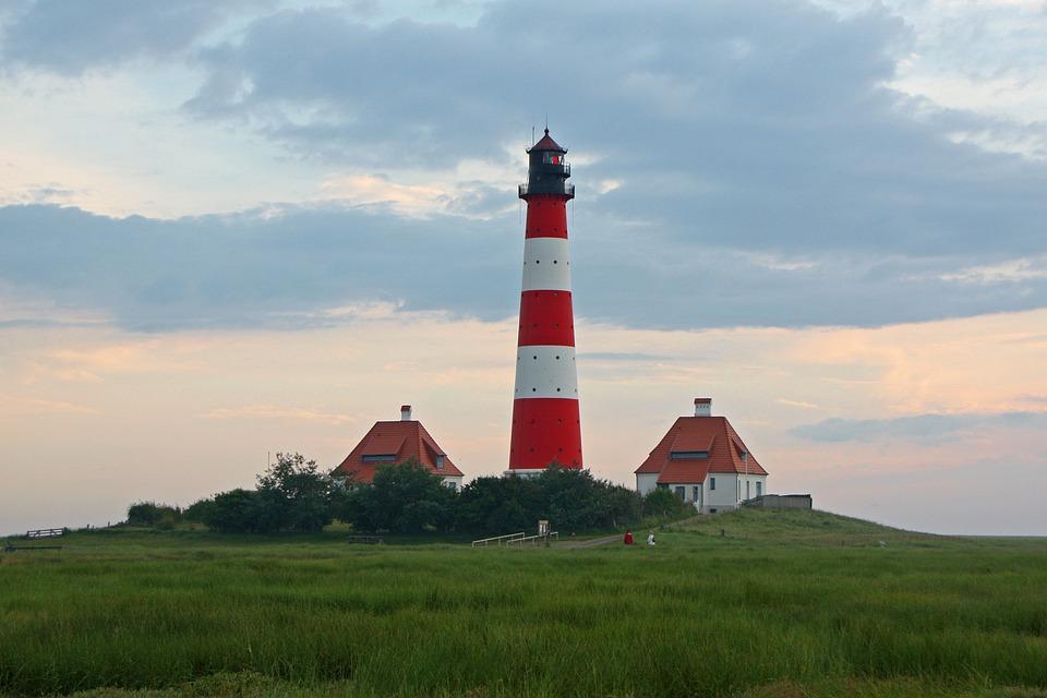 Westerhever, Lighthouse, North Sea, Wadden Sea, Mood