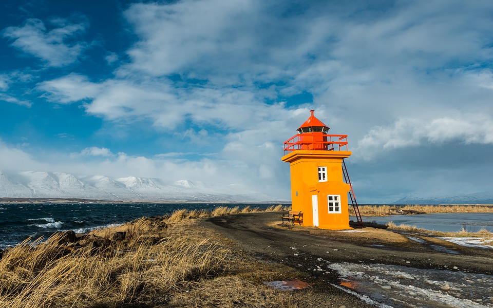 Iceland, Lighthouse, Coast, Landscape, Clouds, Wind
