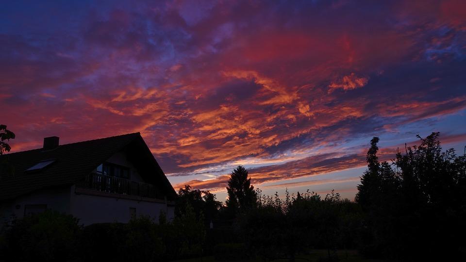 Abendstimmung, Sonnenunetrgang, Evening Sky, Lighting