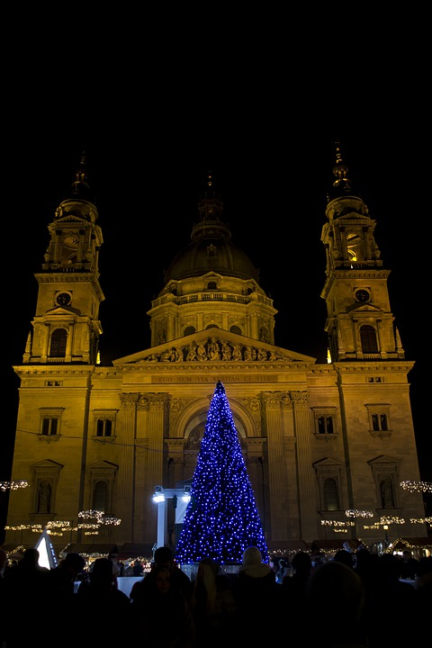 Basilica, Budapest, Christmas, Wood, Lighting, Color
