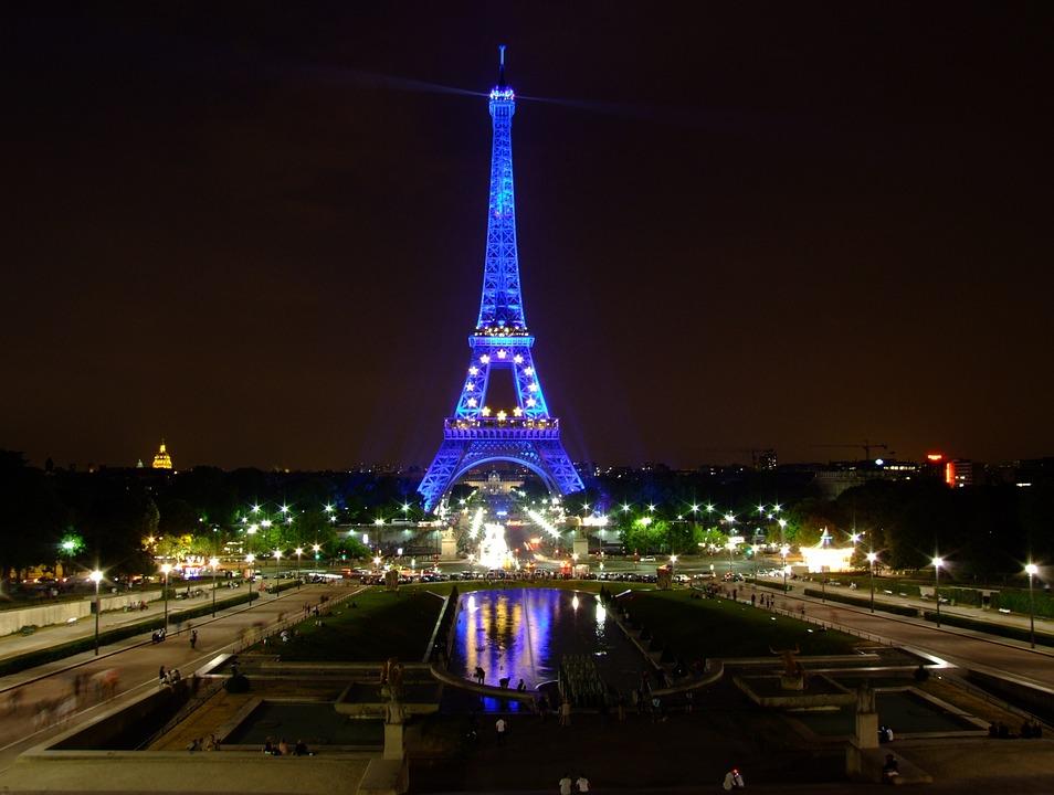 Paris, France, Sky, Night, Evening, Lights, Lighting