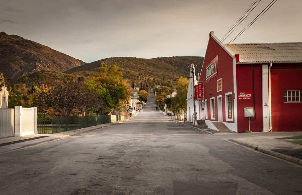 Road, Houses, Lighting, South Africa, Montagu, Lines