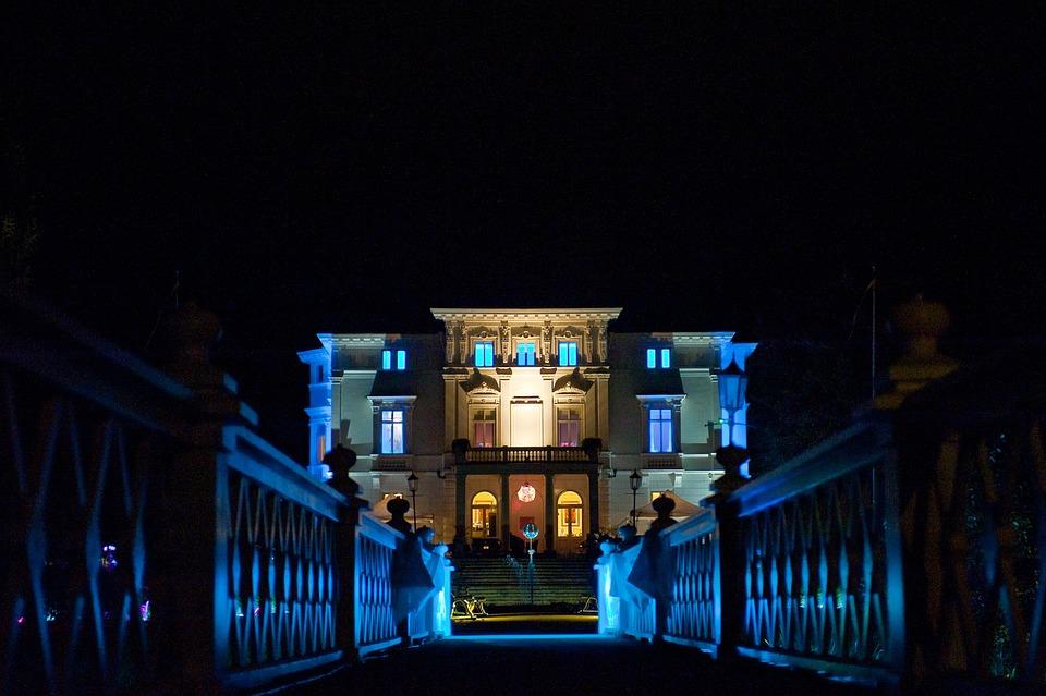 House, Night, Lighting, Castle, Residence