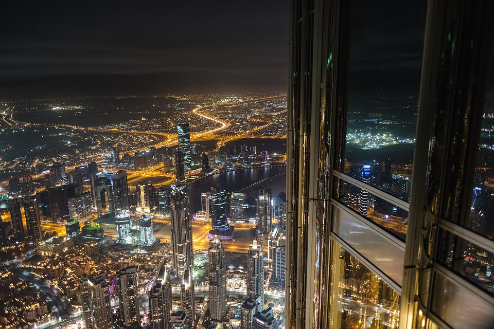 Dubai, Night, Lighting, Burj Khalifa, Skyline, Downtown