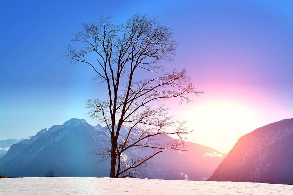 Winter, Wintry, Snow, Sunset, Lighting, Mountains