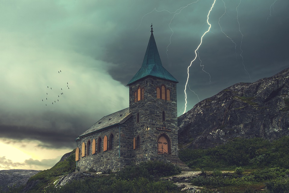 Church, Lightning, Stormy, Building, Chapel