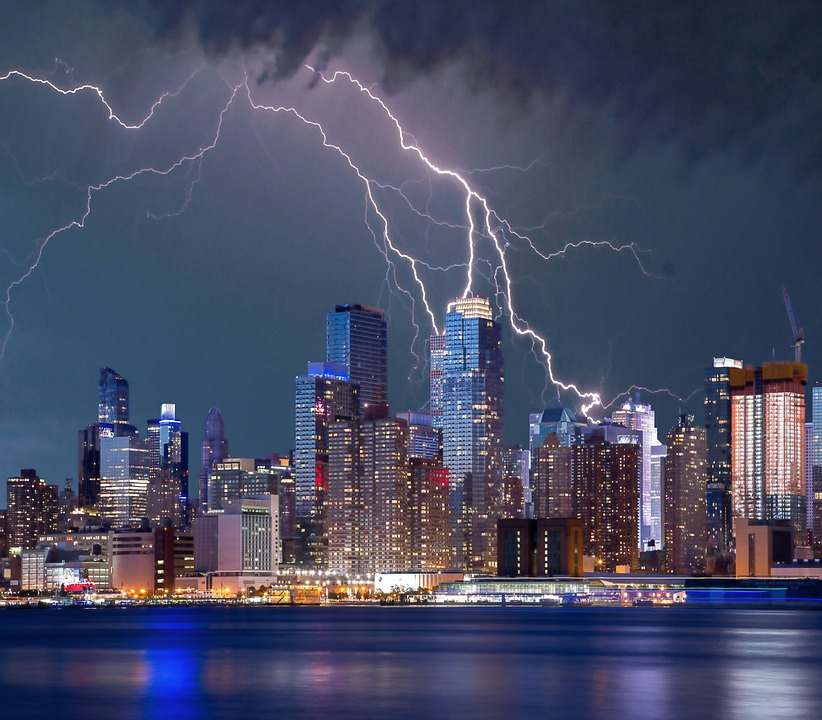 New York Lightning Storm Sky City