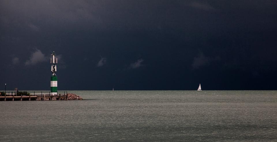 Lake, Storm, Cloud, Viz, Sailing, Lightning