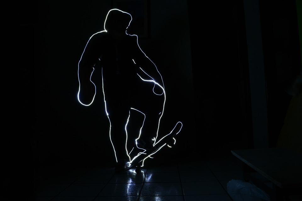 Lightpaint, Light, Photo, Skateboard