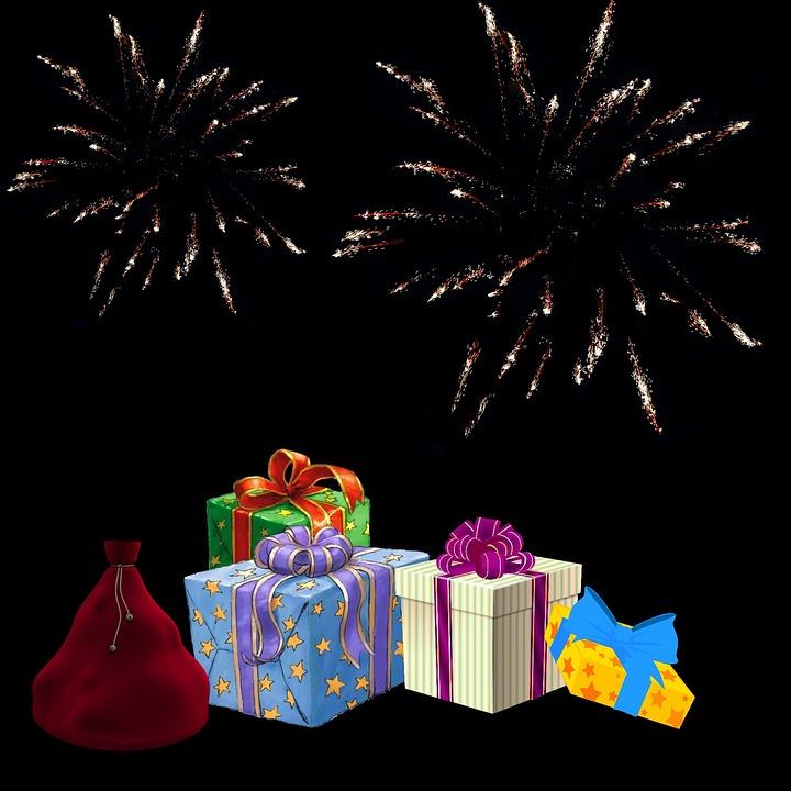 Gift, Fireworks, Christmas, Merry Christmas, Lights
