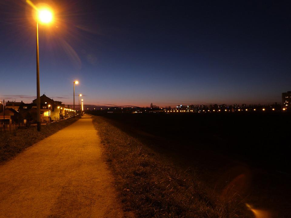 Sunset, Evening, City, Lights, Walk